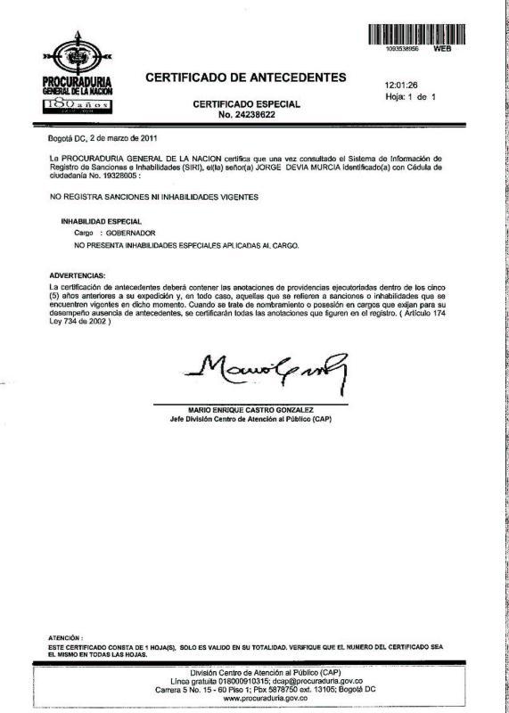 Certificado De Procuraduria