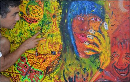 Oleo: Agua, agua-  Pintor Silvio López Estilo: Nido de pájaro.  Tamaño 120 x 80 cms