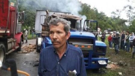 Carlos Artunduaga, conductor del camión quemado en el paro agrario entre Pitalito- Bruselas, contó lo ocurrido a LA NACIÓN.com.co.Foto: Wilson Cuenca