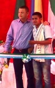 El alcalde Buanerges Rosero y el presidente de San Pedro Cesar salazar