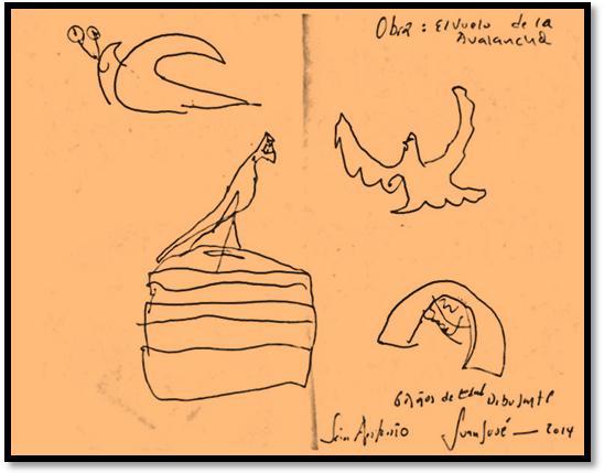 Obra: A volar que viene la Avalancha.  Dibujo: Juan José Canchala. Edad : 6 años