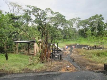 Casas quemadas  por la explosión