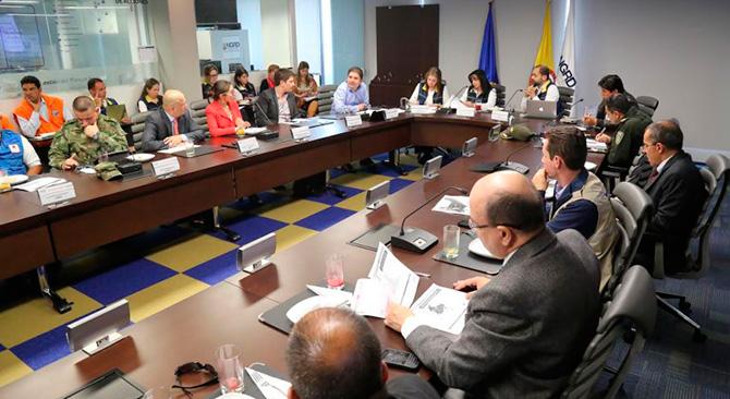 Ministro de Vivienda, Luis Felipe Henao Cardona en el Comité Nacional de Gestión del Riesgo. Fotografía: Jaime Reyes. Prensa (MVCT)