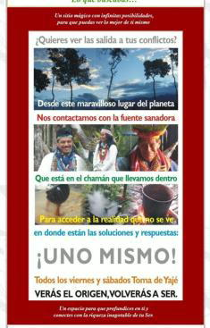 En la imagen superior, uno de los panfletos con los que captabana sus adeptos. Abajo, el gran chalé donde se realizaban los rituales