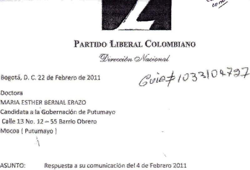 Comunicación del Partido Liberal a María Ester Bernal