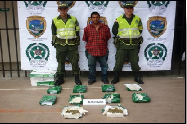Capturada persona que trasportaba 23 kilos de marihuana