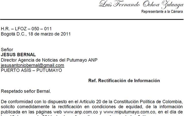 Solicitud de rectificación de información : HR Luis F. Ochoa