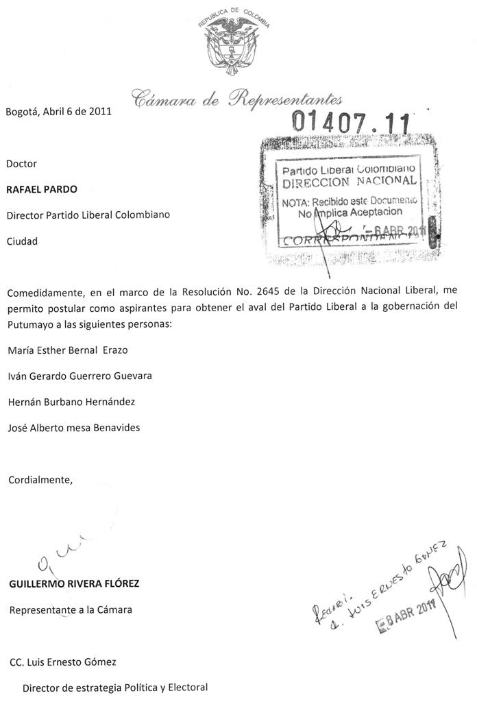 Aval para aspirantes a Gobernación del Putumayo por el Partido Liberal