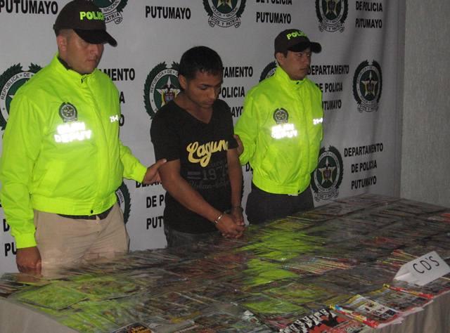Un total de 487 cds piratas incautados y una persona capturada por este delito en Mocoa.