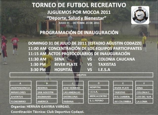 Inicio de Campeonato de Futbol Recreativo