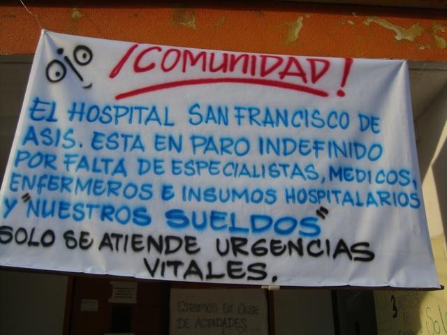Por la falta de voluntad política y de pagos vuelve a paros la IPS Caprecom Hospital San Francisco de Asís nivel dos.