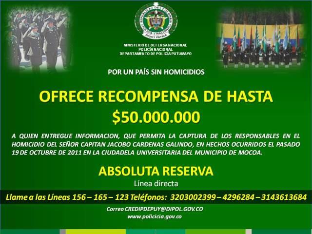 Policía Putumayo ofrece 50 Millones de recompensa