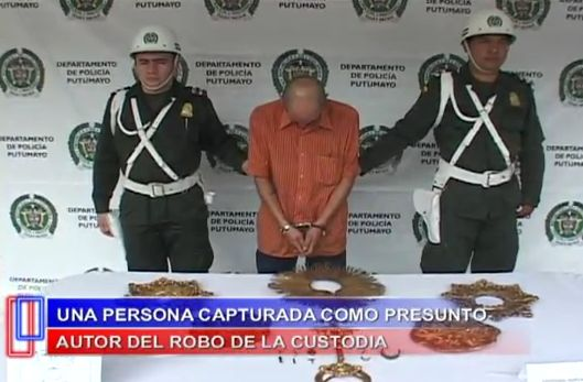 Policia recupera custodia robada a catedral San Miguel Arcangel