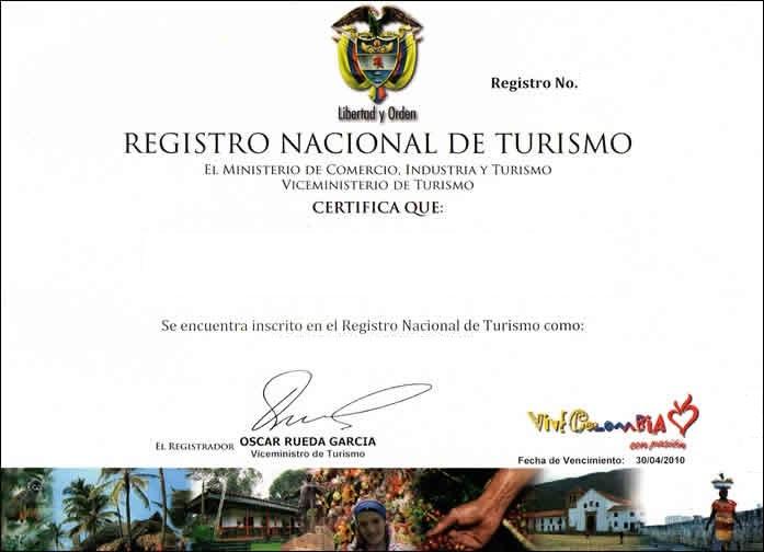 Renovación de Registro Nacional de Turismo antes del 30 de abril de 3013
