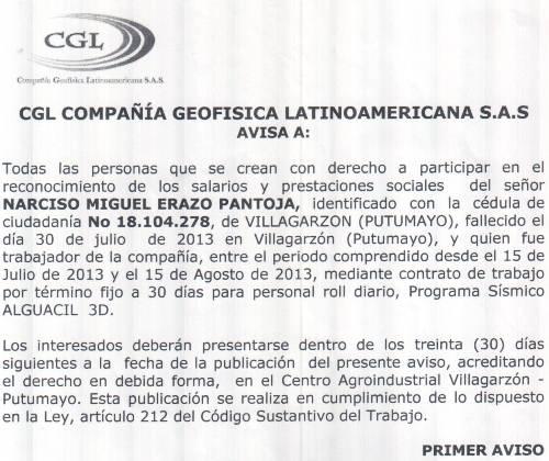 Reconocimiento de Salarios y Prestaciones Sociales del Sr. Narciso Miguel Erazo Pantoja