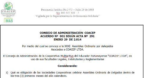 COACEP Ltda – Convocatoria Asamblea 2014