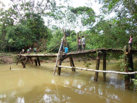 Puente sobre el río Piñuñá en Puerto Caicedo genera riesgo para estudiantes y comunidad