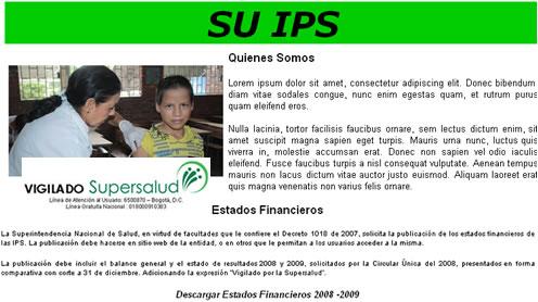 Publicación de Estados Financieros de IPS en el Putumayo