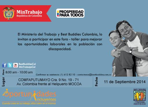Invitación Foro «Oportunidades Incluyentes» en Mocoa
