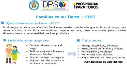 Inicia Convocatoria III programa FAMILIAS EN SU TIERRA FEST –DPS