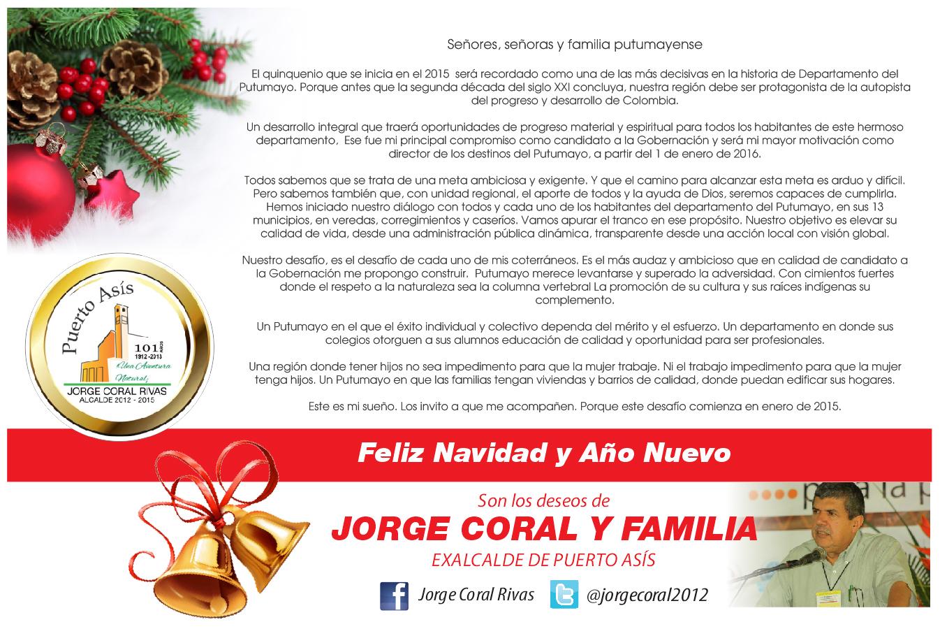 Mensaje de Navidad para el Putumayo – Jorge Coral Rivas
