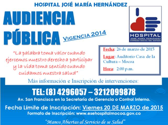 Convocatoria a Audiencia Pública de Rendición de Cuentas 2014 – Hospital José María Hernández