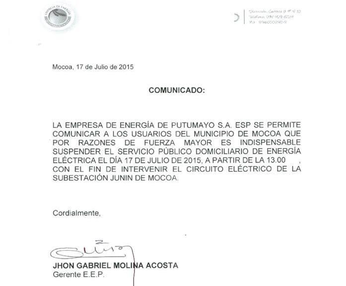 Mocoa, sin servicio de energía desde la 1:00 pm de hoy viernes 17 de julio de 2014