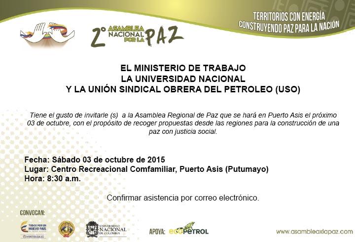 Segunda Asamblea Nacional por la PAZ se realizará en Putumayo