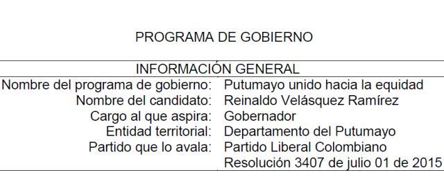 "Programa de Gobierno ""Putumayo unido hacia la equidad"" – Reinaldo Ramirez V."