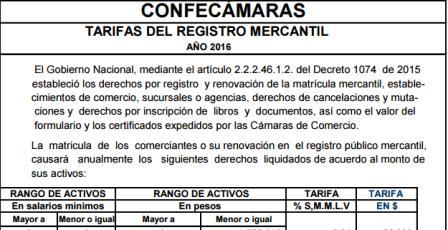 Gobierno fija tarifas de registro mercantil y proponentes para el 2016