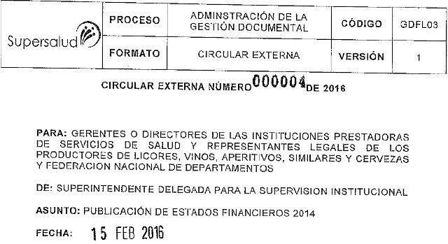 IPS Públicas y Privadas a presentar estados financieros; Supersalud