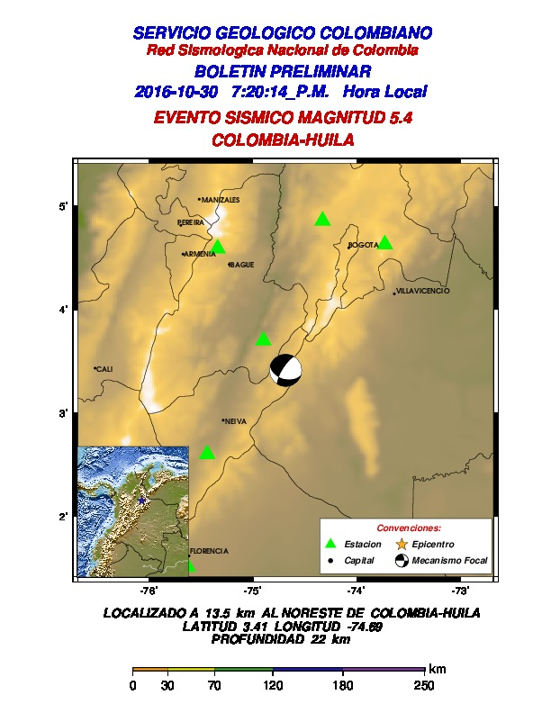 Dos sismos de magnitud 5.4 y 5.0 sacudieron el centro, el sur y el occidente de Colombia