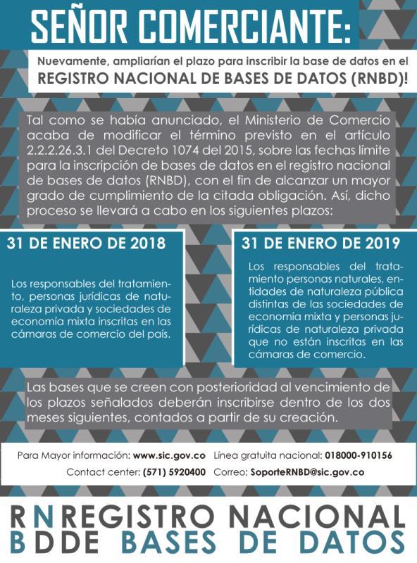 Mediante Decreto 1115 del 29 de junio de 2017 Gobierno Nacional amplio el plazo para el Registro Nacional de Bases de Datos – RNBD