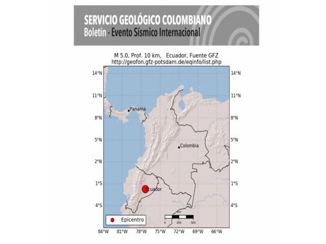 Temblor en Ecuador se siente en departamentos fronterizos de Nariño y Putumayo