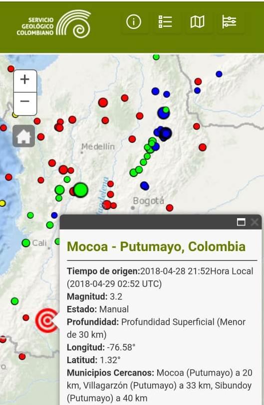 Temblor en Mocoa
