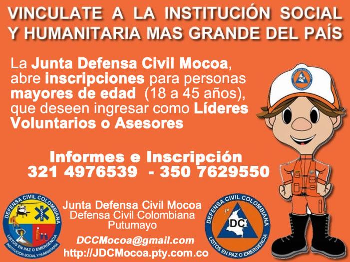 Junta Defensa Civil Mocoa abre convocatoria para nuevos líderes voluntarios