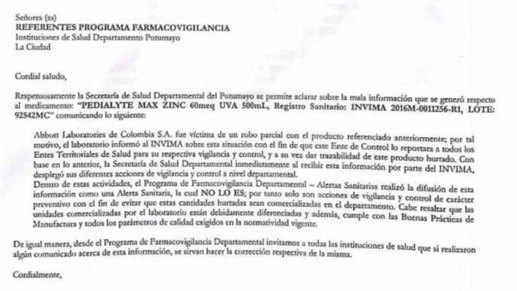 Con respecto al Pedialyte, ERROR de la  Secretaría Departamental de Salud  : NO ES UNA ALERTA SANITARIA