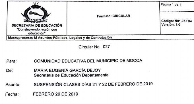 Suspenden clases en planteles educativos de Mocoa