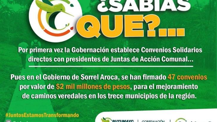 Sabías que por primera vez la Gobernación del Putumayo, establece Convenios Solidarios directos con presidentes de Juntas de Acción Comunal?