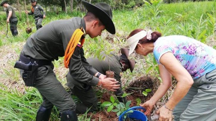 Policía de Carabineros en Mocoa participa de siembraton de mas de 330 árboles de diferentes especies