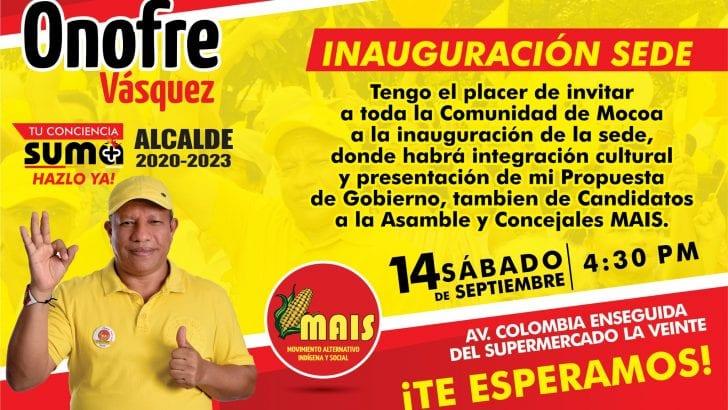 Este sábado 14 de septiembre, inauguración de sede de Onofre Vásquez