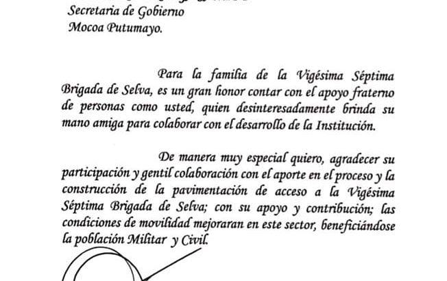 Secretaria de Gobierno Luz Dary Ortega recibe reconocimiento de la Brigada de selva No 27