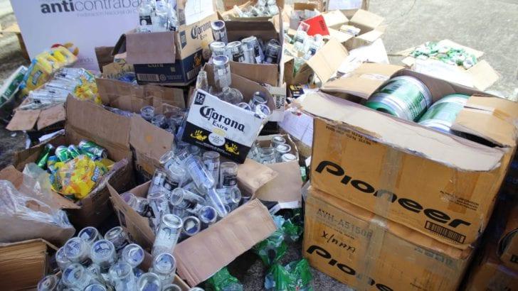 Destrucción de licor y cerveza incautada por evasión de impuestos