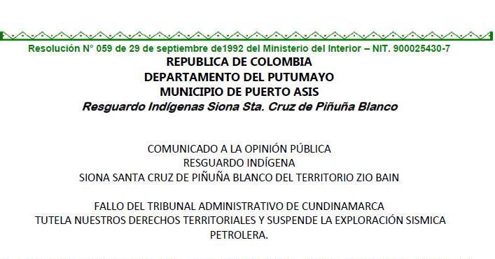 Fallo suspende exploración petrolera en Resguardo Siona del Putumayo
