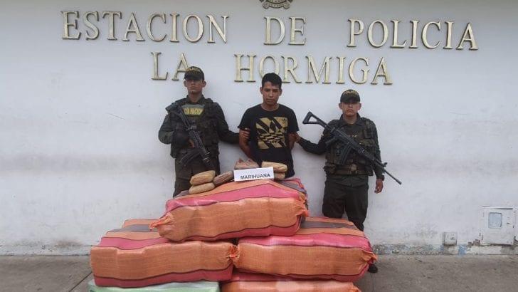 En planes de registro y control en vías del Putumayo incautamos 307 kilos de marihuana tipo cripy