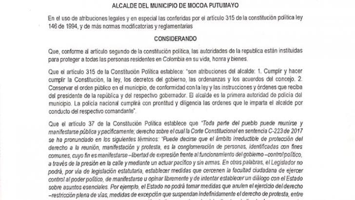 En Mocoa, Alcaldía decreta medidas para la conservación del orden público en las movilizaciones del 21N