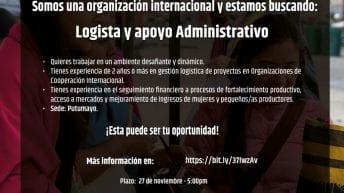 Clasificado – Organización internacional busca Logista y Apoyo Administrativo para Putumayo