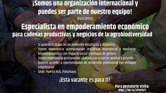Clasificado – Organización internacional busca:Profesional especializado en el área de empoderamiento económico de cadenas productivas y negocios de agrobiodiversidad