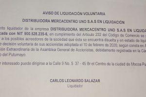 Aviso de Liquidación Voluntaria  Distribuidora Mercacentro Uno SAS en Liquidación