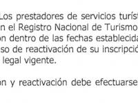 Reactivación y renovación del Registro Nacional de Turismo